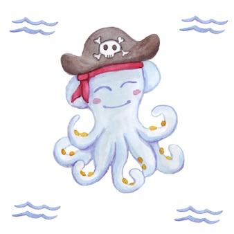 Aquarell tintenfisch pirat