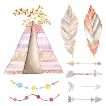 Aquarell tipi, ethnische pfeile und blumen eingestellt