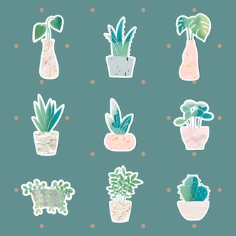 Aquarell topfpflanzen sammlung