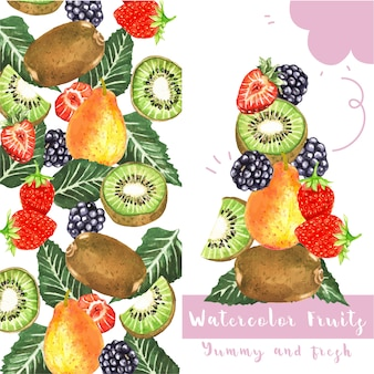 Aquarell trägt karte früchte