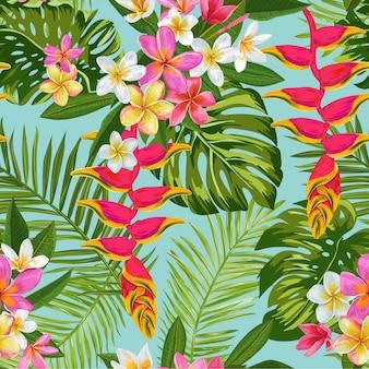 Aquarell tropische blumen nahtlose muster. exotische blühende plumeriablumen