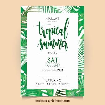 Aquarell tropische Palmblätter Flyer