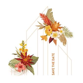 Aquarell tropischer blumenhochzeitsvektorrahmen. tropische blumen, orchidee, trockene palmblätter-grenzschablone für hochzeitszeremonie, minimale einladungskarte, dekoratives boho-sommerbanner