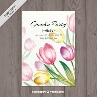 Aquarell tulpen garten-partei-karte