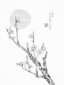 Aquarell-tuschemalerei-kunsttexturillustration alter kirschblütenblumenzweigbaum und sonnenuntergang.