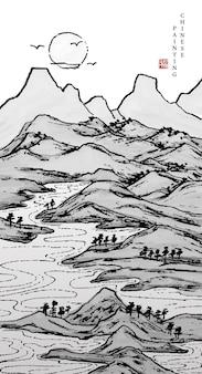 Aquarell-tuschemalerei-kunsttexturillustrationslandschaft des gebirgsflusses und des sonnenuntergangs.