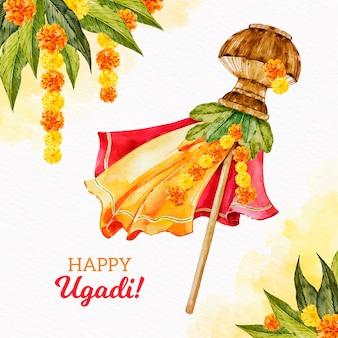 Aquarell ugadi flagge mit tropischen blättern und blumen