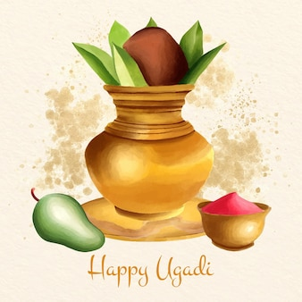 Aquarell ugadi illustration