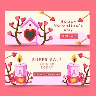 Aquarell valentine banner mit kerzen