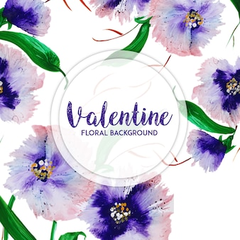 Aquarell valentine blumen hintergrund