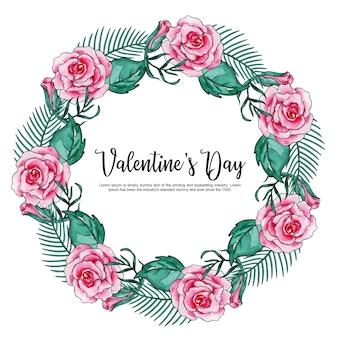 Aquarell Valentine Blumenkranz