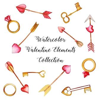 Aquarell valentine elements-auflistung
