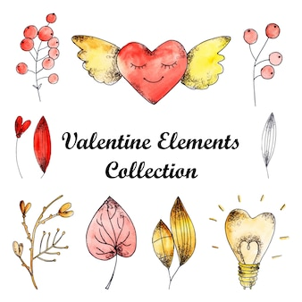 Aquarell valentine elements-auflistung
