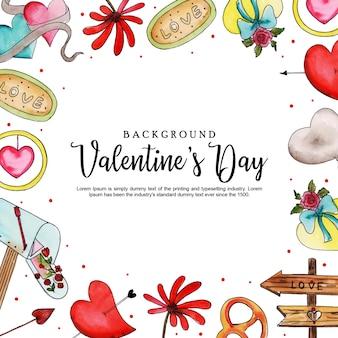 Aquarell Valentine Frame Hintergrund