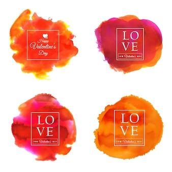 Aquarell valentine splatter sets designs