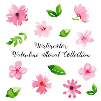 Aquarell-valentinsgruß-blumensammlung