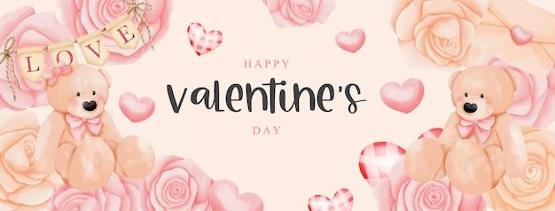 Aquarell-valentinskarte mit teddybär und rosen