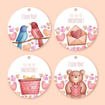 Aquarell valentinstag abzeichensammlung