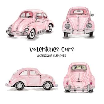 Aquarell valentinstag autos, valentinstag elemente