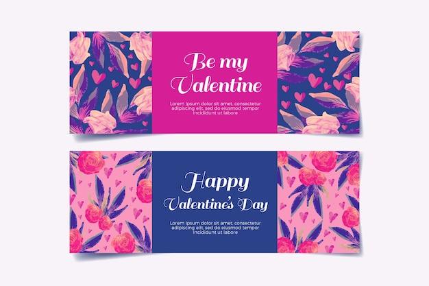 Aquarell valentinstag banner konzept