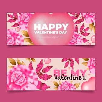 Aquarell valentinstag banner vorlage