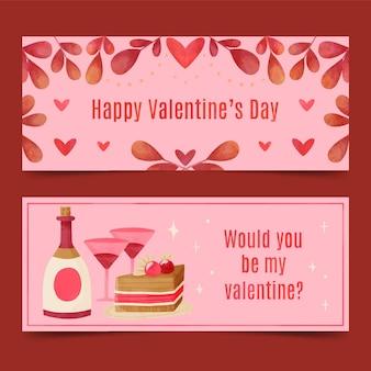 Aquarell valentinstag banner