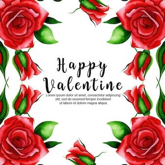 Aquarell valentinstag blumenhintergrund