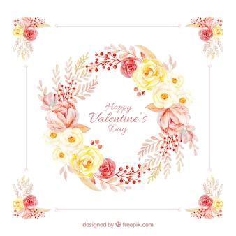 Aquarell-Valentinstag Blumenkränze & Blumensträuße