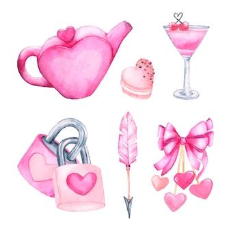 Aquarell valentinstag elementsammlung