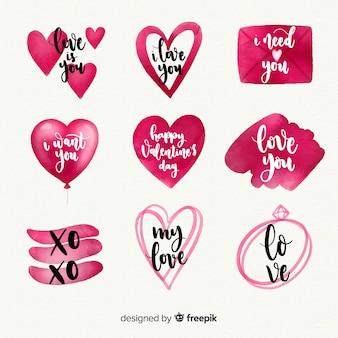 Aquarell valentinstag etikettenkollektion
