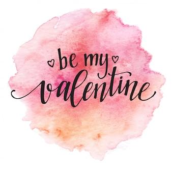 Aquarell-valentinstag-kartenbeschriftung seien sie mein valentinsgruß im rosa aquarell