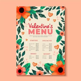 Aquarell valentinstag menüvorlage