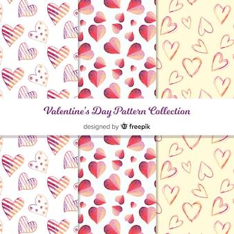 Aquarell Valentinstag Muster Kollektion