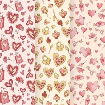 Aquarell valentinstag muster sammlung
