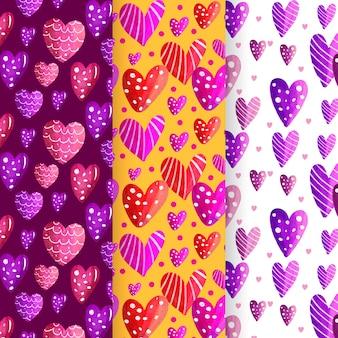 Aquarell valentinstag mustersatz