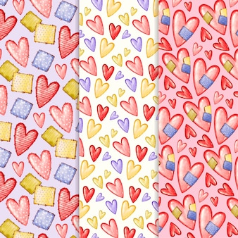 Aquarell-valentinstag-mustersatz