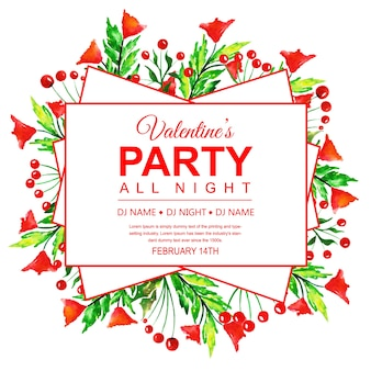 Aquarell valentinstag party einladung karte