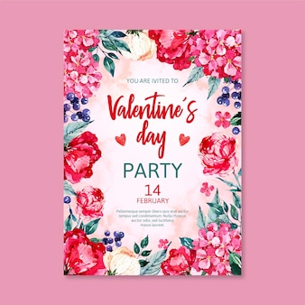Aquarell valentinstag party flyer poster