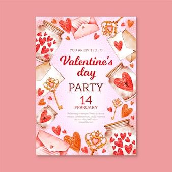 Aquarell valentinstag party flyer vorlage