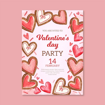Aquarell valentinstag party flyer