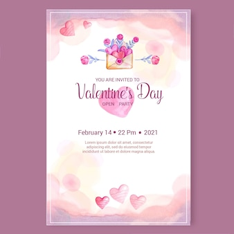 Aquarell valentinstag party poster vorlage