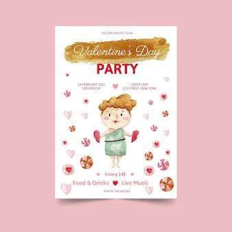 Aquarell valentinstag party poster vorlage