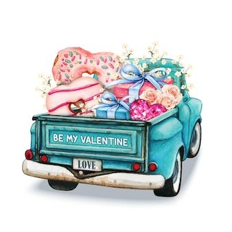 Aquarell valentinstag pickup rückansicht mit herzen donuts geschenke und blumen