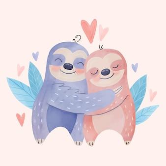 Aquarell valentinstag tierpaar