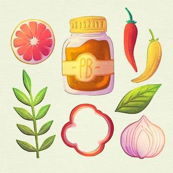 Aquarell vegetarische lebensmittelkollektion