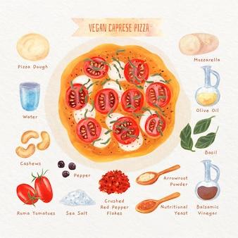 Aquarell vegetarisches caprese pizzarezept