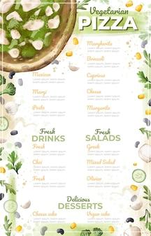 Aquarell vegetarisches menü