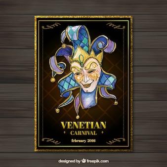 Aquarell venezianischen karneval plakat