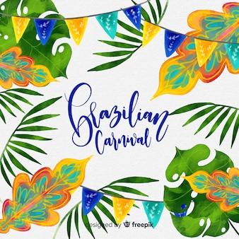 Aquarell verlässt brasilianischen karnevalshintergrund
