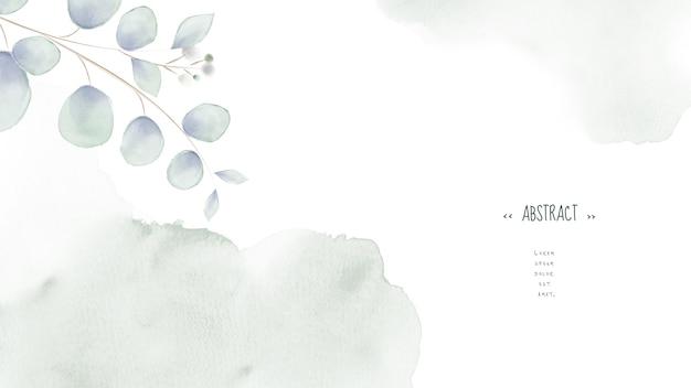 Aquarell verlässt design auf hellgrünem fleck abstrakten hintergrund.